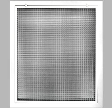 "20"" x 30"" Cube Core Eggcrate Return Air Filter Grille for 1"" Filter - Aluminum - White [Outer Dimensions: 22.5""w X 32.5""h]"