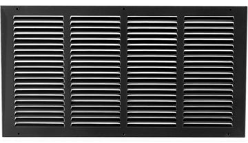"20""w X 10""h Steel Return Air Grilles - Sidewall and ceiling - HVAC DUCT COVER - Black [Outer Dimensions: 21.75""w X 11.75""h]"