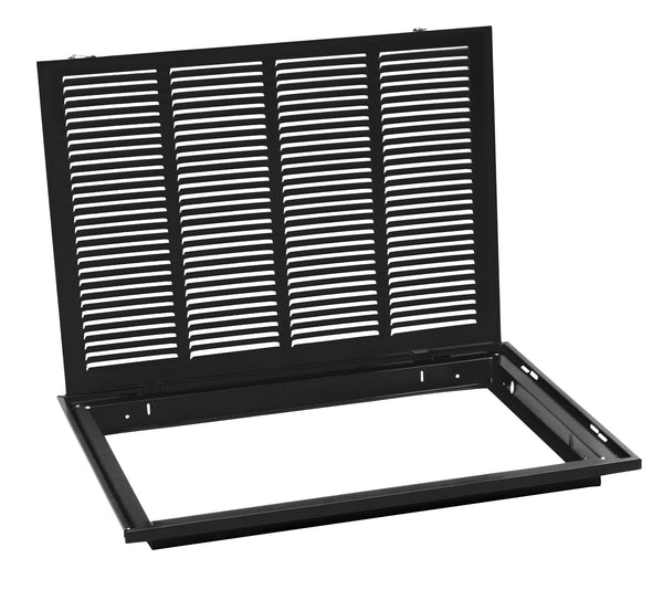 "20"" X 16 Steel Return Air Filter Grille for 1"" Filter - Removable Face/Door - HVAC DUCT COVER - Flat Stamped Face - Black [Outer Dimensions: 22.5""w X 18.5""h]"