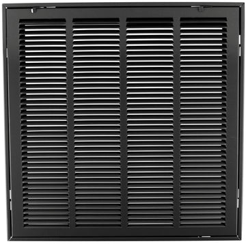 "20"" X 20 Steel Return Air Filter Grille for 1"" Filter - Removable Face/Door - HVAC DUCT COVER - Flat Stamped Face - Black [Outer Dimensions: 22.5""w X 22.5""h]"