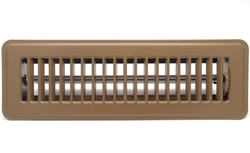 "4"" X 14"" Floor Register with Louvered Design - Fixed Blades Return Supply Air Grill - with Damper & Lever - Brown"