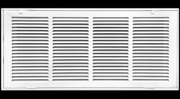 "24"" X 10 Steel Return Air Filter Grille for 1"" Filter - Fixed Hinged - ceiling Recommended - HVAC DUCT COVER - Flat Stamped Face - White [Outer Dimensions: 26.5""w X 12.5""h]"