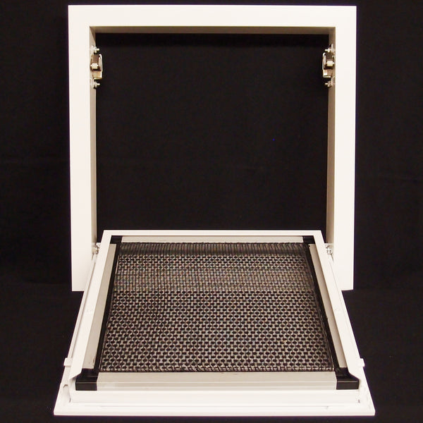 "20""w X 20""h Aluminum Return Filter Grille with Easy Push Self Lock & reusable Mesh Filter - Return Air HVAC Vent Duct [Outer Dimensions: 21.2""w X 21.2""h]"