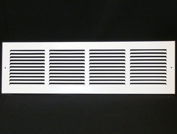 "24""w X 6""h Steel Return Air Grilles - Sidewall and ceiling - HVAC DUCT COVER - White [Outer Dimensions: 25.75""w X 7.75""h]"