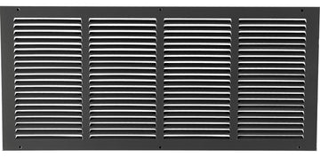 "24""w X 10""h Steel Return Air Grilles - Sidewall and ceiling - HVAC DUCT COVER - Black [Outer Dimensions: 25.75""w X 11.75""h]"