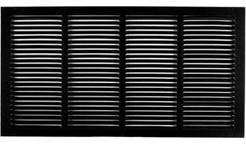 "20"" X 12"" Steel Return Air Grilles - Sidewall and ceiling - HVAC DUCT COVER - Black [Outer Dimensions: 21.75""w X 13.75""h]"