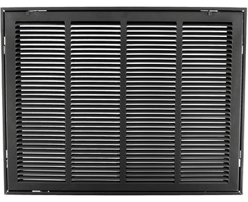 "24"" X 18 Steel Return Air Filter Grille for 1"" Filter - Removable Face/Door - HVAC DUCT COVER - Flat Stamped Face - Black [Outer Dimensions: 26.5""w X 20.5""h]"