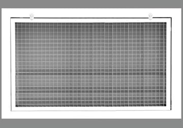 "26"" x 12"" Cube Core Eggcrate Return Air Filter Grille for 1"" Filter - Aluminum - White [Outer Dimensions: 28.5""w X 14.5""h]"