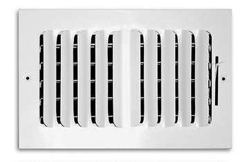 "14"" X 8"" 2-Way-Vertical FIXED CURVED BLADE AIR SUPPLY DIFFUSER - Vent Duct Cover - Grille Register - Sidewall or ceiling - High Airflow - White"