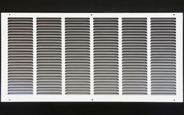"30""w X 14""h Steel Return Air Grilles - Sidewall and ceiling - HVAC DUCT COVER - White [Outer Dimensions: 31.75""w X 15.75""h]"