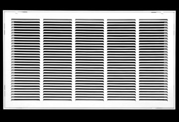 "30"" X 16 Steel Return Air Filter Grille for 1"" Filter - Removable Face/Door - HVAC DUCT COVER - Flat Stamped Face - White [Outer Dimensions: 32.5""w X 18.5""h]"