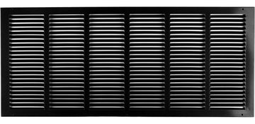 "30""w X 12""h Steel Return Air Grilles - Sidewall and ceiling - HVAC DUCT COVER - Black [Outer Dimensions: 31.75""w X 13.75""h]"