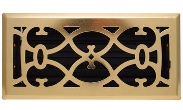 "4"" X 10"" Brass Victorian Floor Register Grille - Modern Contempo Decorative Grate - HVAC Vent Duct Cover - Brass Plated"