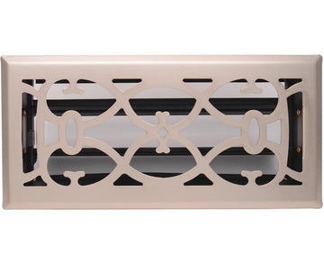 "4"" X 10"" Nickel Victorian Floor Register Grille - Modern Contempo Decorative Grate - HVAC Vent Duct Cover - Brush Nickel"