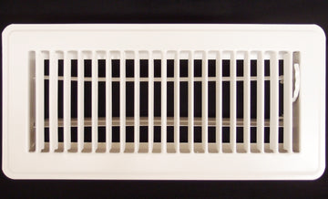 "6"" X 10"" Floor Register with Louvered Design - Fixed Blades Return Supply Air Grill - with Damper & Lever - White"