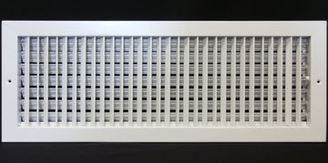 "24"" X 12"" ADJUSTABLE AIR SUPPLY DIFFUSER - HVAC Vent Duct Cover Sidewall or ceiling - Grille Register - High Airflow - White"
