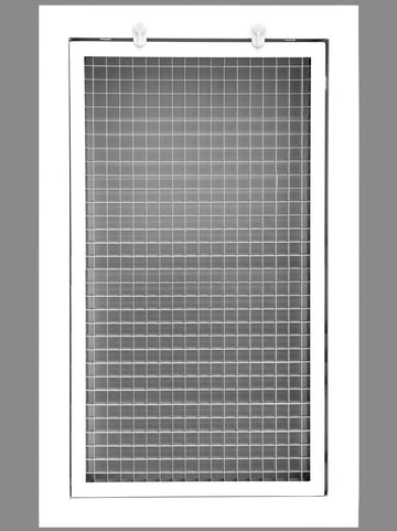 "6"" x 16"" Cube Core Eggcrate Return Air Filter Grille for 1"" Filter - Aluminum - White [Outer Dimensions: 8.5""w X 18.5""h]"