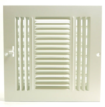 "6""w X 6""h 3-Way AIR SUPPLY GRILLE - DUCT COVER & DIFFUSER - Flat Stamped Face - White [Outer Dimensions: 7.75""w X 7.75""h]"
