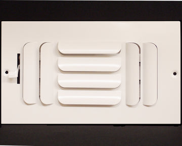 "12"" X 4"" 3-Way FIXED CURVED BLADE AIR SUPPLY DIFFUSER - Vent Duct Cover - Grille Register - Sidewall or ceiling - High Airflow - White"