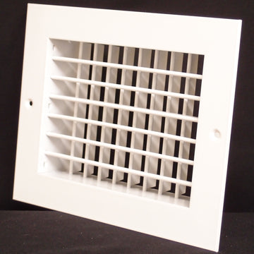 "12""w X 6""h Aluminum Double Deflection Adjustable Air Supply HVAC Diffuser - Full Control Vertical/Horizontal Airflow Direction - Wide Front End Overlap - Vent Duct Cover [Outer Dimensions: 13.6""w X 7.6""h]"