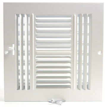"10""w X 10""h 4-Way AIR SUPPLY GRILLE - DUCT COVER & DIFFUSER - Flat Stamped Face - White [Outer Dimensions: 11.75""w X 11.75""h]"