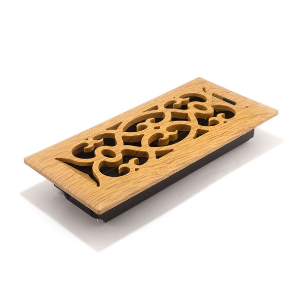 "12"" x 2"" Decorative Red Oak Wood Victorian Air Vent Grille - HVAC Duct Cover [Outer Dimensions: 14w X 4""h]"