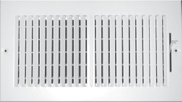"24"" X 10"" 2-Way Vertical AIR SUPPLY GRILLE - DUCT COVER & DIFFUSER - Flat Stamped Face - White [Outer Dimensions: 25.75""w X 11.75""h]"
