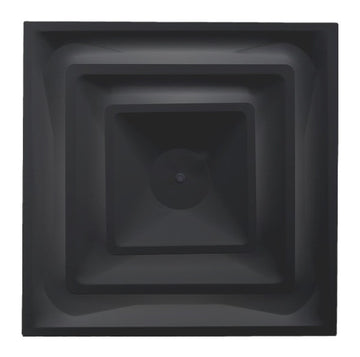 "Drop Ceiling HVAC Supply Grille - For T-Bar Lay-In - 3 Coned - 24"" x 24"" - For 12"" Vent Connection - Black"