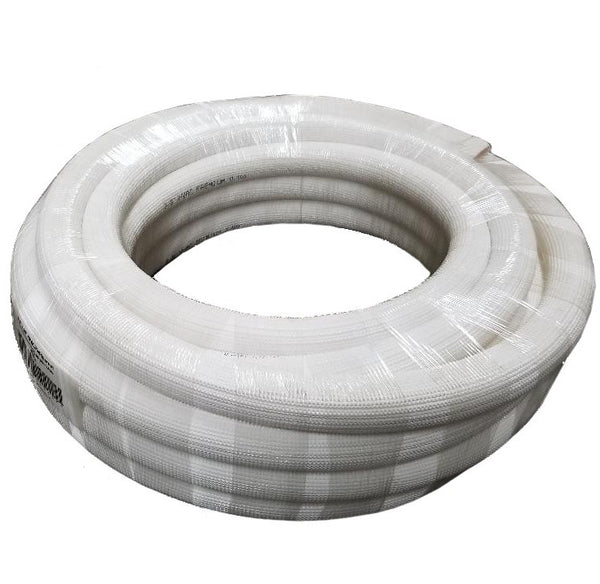 "1/4"" Insulated Copper Coil Line - Seamless Pipe Tube for HVAC, Refrigerant - 1/2"" White Insulation - 15' Long"