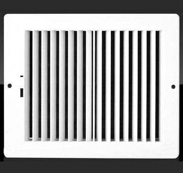 "14w X 8""h Never Rust Plastic 2-Way-Vertical Air Supply Register - HVAC Vent Duct Grille - Off White"