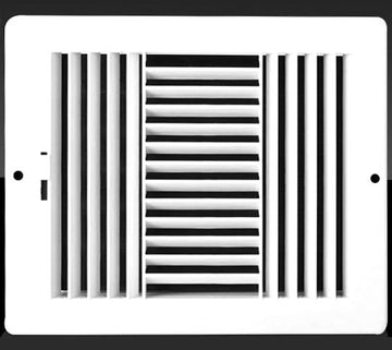 "14w X 8""h Never Rust Plastic 3-Way Air Supply Register - HVAC Vent Duct Grille - Off White"