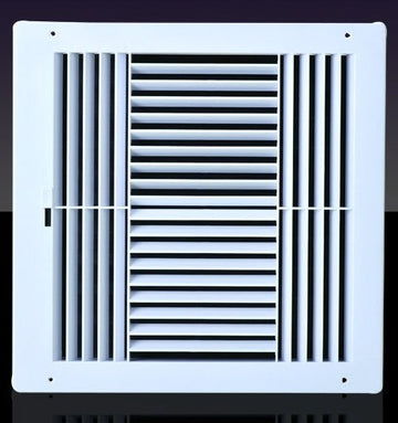 "10w X 10""h Never Rust Plastic 4-Way Air Supply Register - HVAC Vent Duct Grille - Off White"