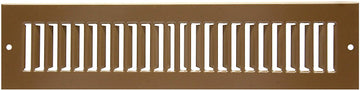 "12"" X 6"" Toe Space Grille - HVAC Vent Cover [Outer Dimensions: 13.5 X 7.5] - Brown"