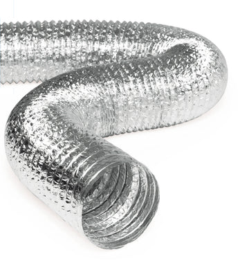"4"" Inch Aluminum Hose Flexible Air Duct Pipe for Rigid HVAC Flex Ductwork - 25' Feet Long"