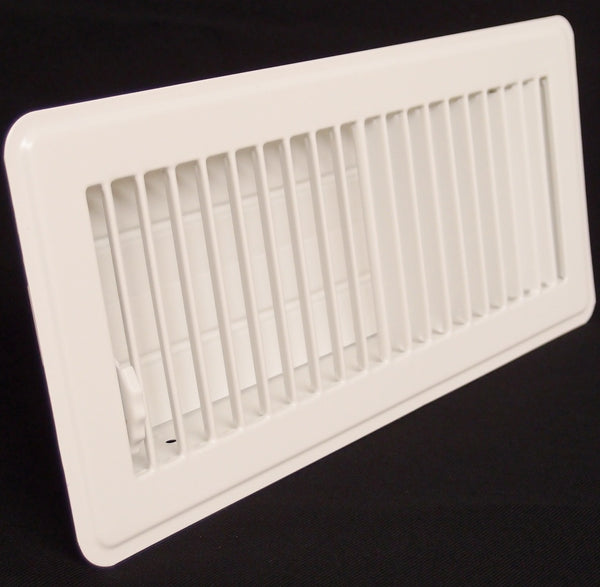 "4"" X 8"" Floor Register with Louvered Design - Fixed Blades Return Supply Air Grill - with Damper & Lever - Brown"