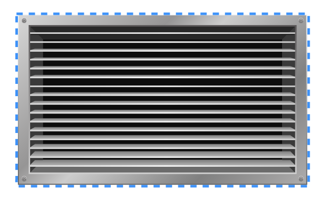 Outer dimensions of the front of a vent