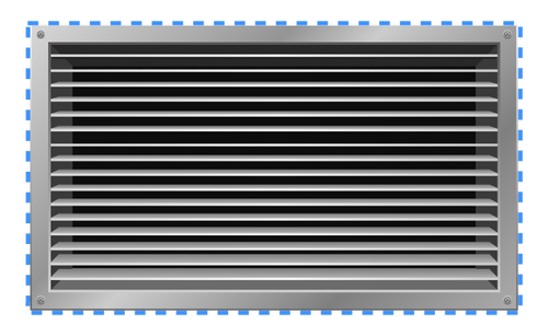 Outer dimensions on the front of a vent
