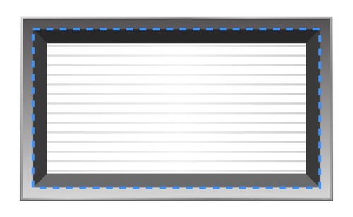 Inner dimensions on the back of a vent
