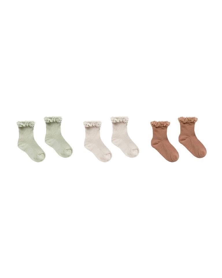 LACE TRIM SOCKS SET OF 3 || SAGE-SHELL-TERRACOTTA