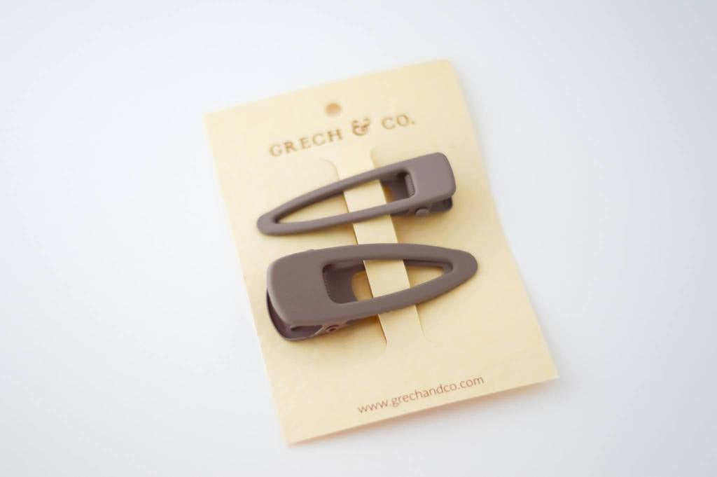 GRECH & CO MATTE HAIR CLIPS (SET OF 2) - STONE