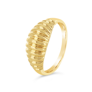 Gold Ribbed Dome Ring - Alexa Rose Jewelry