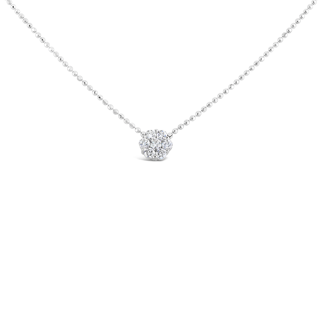 18KW Floral Diamond Necklace - ALEXA ROSE