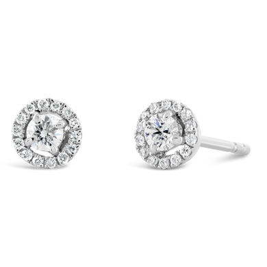 Petite Diamond Earrings with Halo - ALEXA ROSE