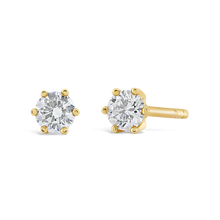 Load image into Gallery viewer, 6 Prong 18k Yellow Gold Diamond Studs - ALEXA ROSE