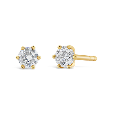 6 Prong 18k Yellow Gold Diamond Studs - ALEXA ROSE