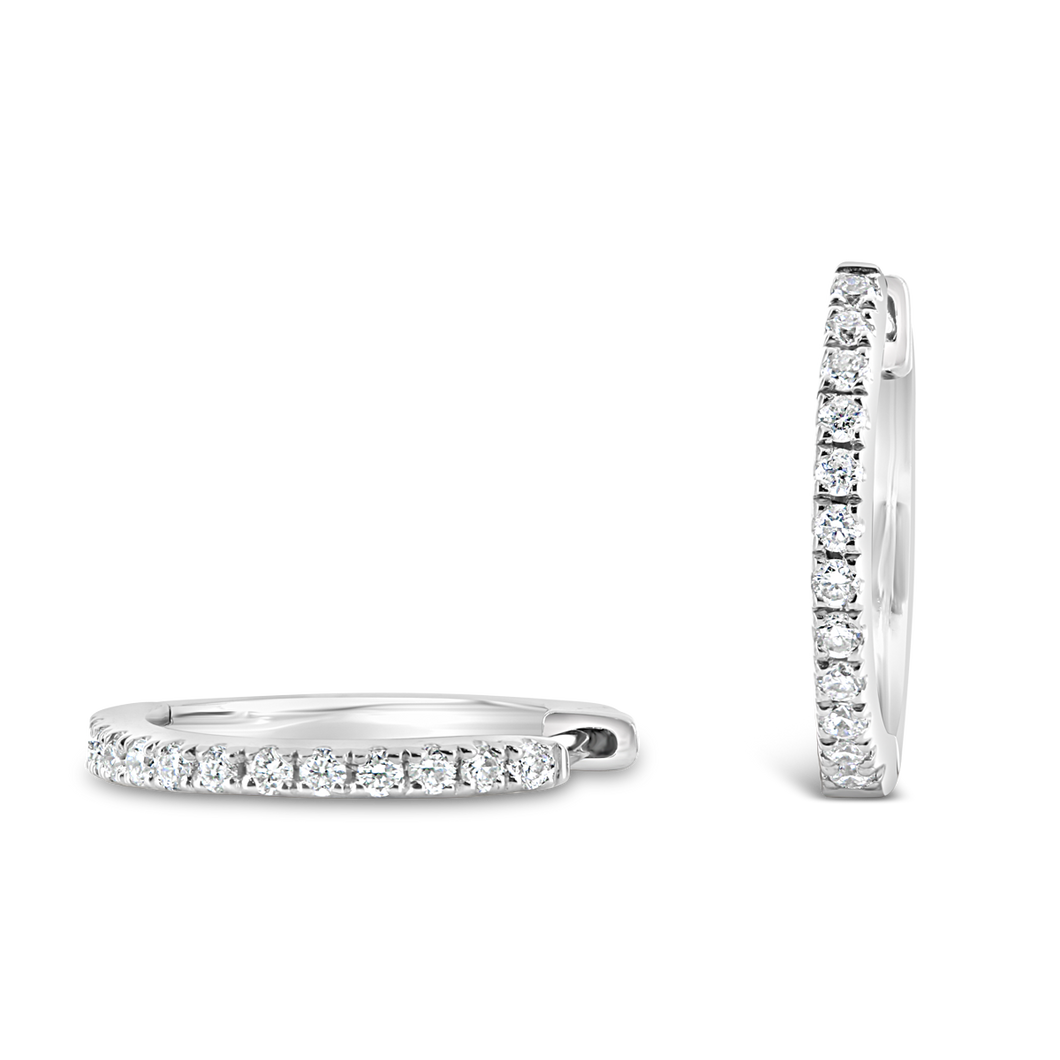 12 mm Diamond Hoop Earrings - ALEXA ROSE