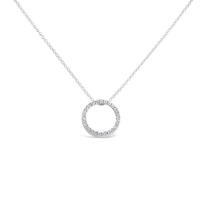 Diamond Circle Pendant Necklace - ALEXA ROSE