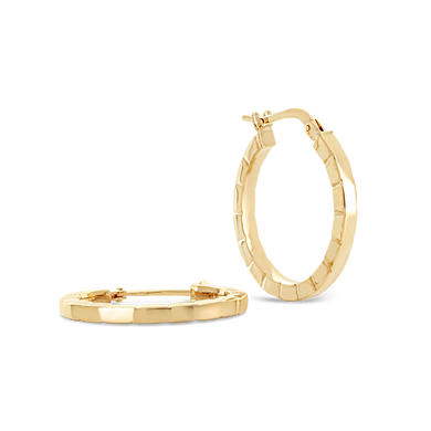 Striped Edge Hoop Earrings - ALEXA ROSE