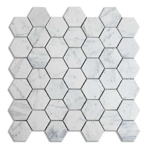 Honed 2-in Hexagon Carrara White Marble Mosaic