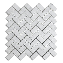 Load image into Gallery viewer, Honed Carrara White 1x2 Herringbone Marble Mosaic